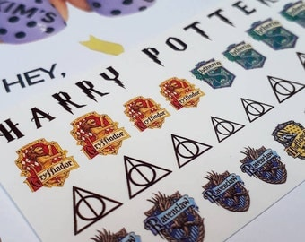 Harry Potter Nail Decals - MIXED HOUSE SET - Gryffindor, Slytherin, Hufflepuff, Ravenclas, Deathly Hallows