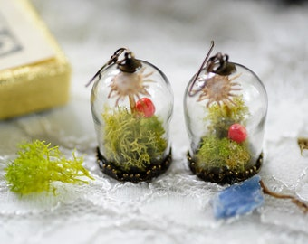 Terrarium jewelry, Real moss, Flower earrings ,Romantic jewelry, real flower earrings, fairy garden, boho jewelry,gifts for her