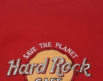 Vintage Hard Rock Cafe Chicago Save The Planet Red Crewneck Sweatshirt Large