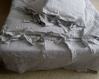 Linen DUVET COVER with wide tie closure oatmeal- Natural gray duvet cover prewashed white linen bedding Organic duvet cover flax bedding