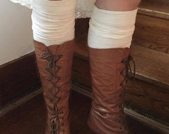 Antique Edwardian 1900s 1920s cream cotton knit knee length stockings