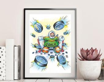 GOLDBERG the GOALIE - MIGHTY Ducks - Giclee Art Print - Hand Drawn Illustration - Nhl Ice Hockey / Kids / Childrens Movies / Pop Culture Art
