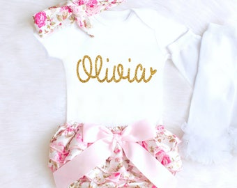 Baby Girl Coming Home Outfit Baby Girl Clothes Personalized Newborn Girl Outfit Spring Floral Bloomers Summer Baby Girl Outfit monogram 1