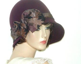 Asymmetrical wool cloche Custom Vintage inspired Miss Fisher  GatsbyDownton Abbey hat