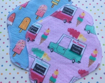 Pre-Made Set of 2, Reusable Cloth Pantyliner or Pad, Ice-cream Trucks and Popsicles