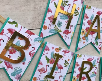 Pink Flamingo Birthday Banner- Tropical Watercolor Flamingo Birthday Banner- Tropical Pink Flamingo Birthday- Luau Party Decorations