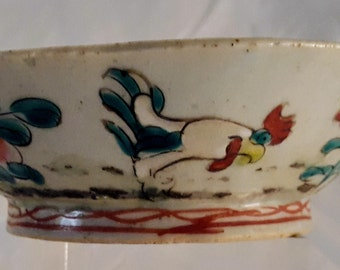 Chinese 1900's Ceramic Rooster Bowl with Painted Enamels