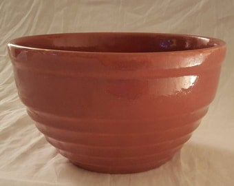 "Fabulous Vintage Mauve Ringware Style Ceramic 9"" Mixing Bowl- No Visible Maker's Marks"