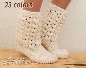 Crochet Slippers Wool Handmade Home Socks Warm socks Crochet wool socks Home wool socks Home warm socks Home wool slippers socks Warm