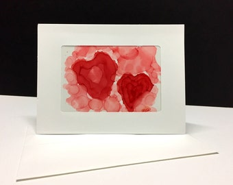 Hand painted alcohol ink card abstract art Unique card blank greeting card art collectable card hand made card gift for him her