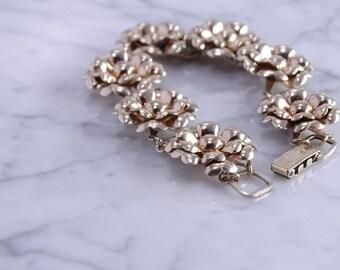 """Antique Sterling / Gold Filled Floral Bracelet (7"""")"""