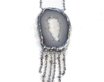 Mixed Metal Long Agate Geode Chain Fringe Necklace. FREE US Standard Shipping.