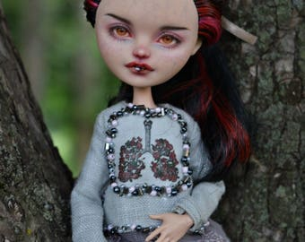 OOAK Ever After High doll repaint Lizzie Hearts in full custom outfit
