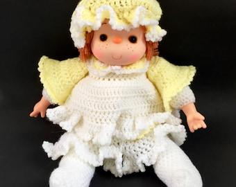 Vintage Icecream Cone Doll GORGEOUS Handmade Sewn Crochet Yellow Dress Handsewn Knit Ice Cream Craft Doll 1980s Original 80s Classic Kawaii