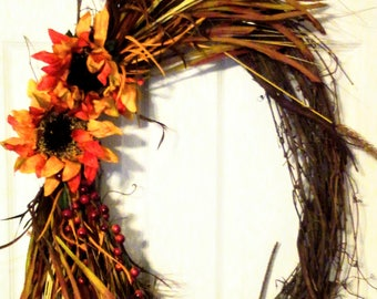 CLEARANCE!!! -Thanksgiving Wreath, Oval Fall Wreath-Home Decor, Fall decor, Sunflowers, Grapevine, Leaves, Pip Berries, Decoration