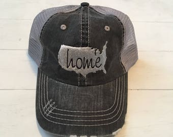 Patriotic Hat. Home Hat. USA Hat. 4th of July Hat. America Hat. State Home Hat. Distressed Hat. Home. USA.
