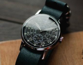 Vintage men's watch Zim - Aviator, mechanical ussr watches, black military watches, soviet watches, men wristwatch, watches for men