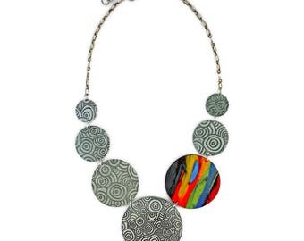 Fun aluminium and polymer clay necklace