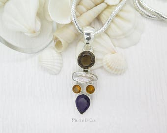 Smoky Topaz Fresh water Pearl Amethyst and Citrine Sterling Silver Pendant and Chain