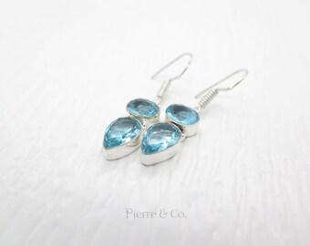 19 Carats Blue Topaz Sterling Silver Earrings
