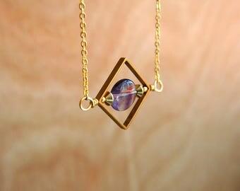 Rainbow Fluorite Geometric Necklace   Limited Edition