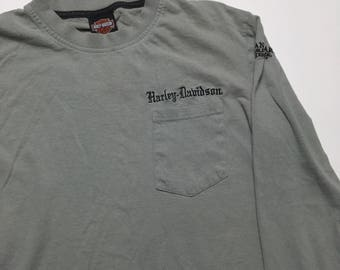 Vintage Harley Davidson Shirt - Harley Davidson Embroidered Long Sleeve HD Motorcycles - Vintage Harley Shirt - Harley Davidson Long Sleeve