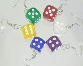 Translucent Dice Earrings - Board Game Jewelry, Dice Jewelry, Board Game Earrings, Geeky gifts, Nerdy, Board Game Geek