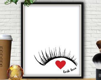 Lash Love, Makeup Print, Lash Decor, Lash Sign, Eyelashes, Eyelash Print, Eyelash Wall Art, Vanity Decor, Makeup Decor, Eye Lashes, Eye Lash