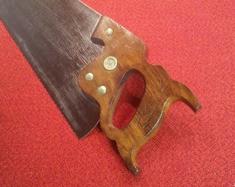 "Antique Handsaw 26"" Warranted Superior Samson 8 Point Strong Steel Crosscut Patent Temper Patent Ground"