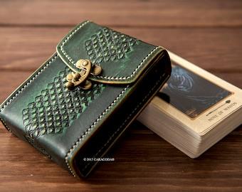 Tarot leather case, card box, holder, tarot box, tarot holder, playing cards case, tarot, vintage tooled leather, Tarot cards, leather case