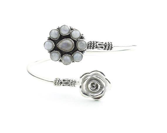 Moon Rose Bracelet, Moonstone Bangle, Flower Bracelet, Gemstone, Boho, Bohemian, Gypsy, Festival Jewelry