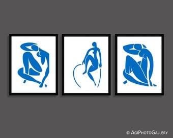 Matisse Blue Nude Print Set, Matisse Nude Cutout, Minimalist Matisse Nude Printable Download, Blue Nude, Contemporary Minimalist Nude