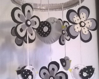 Baby Crib Mobile - Baby Mobile - Birds Mobile - Black and white  Mobile - Flowers Mobile