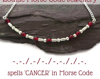 Cancer zodiac necklace, Morse Code necklace, July birthstone, ruby necklace, zodiac gift for her, Cancer star sign, horoscope jewellery