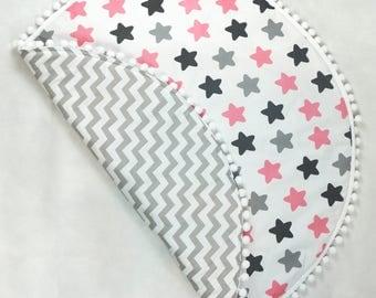 Baby Play Mat / Padded Play Mat / Kids Rug / Round Playmat / Floor Mat / Pink Grey Black Stars Floor Rug / Gifts For Kids /