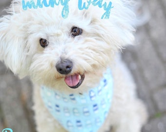 MILKY WAY bandana for dogs and cats -  Pastel bandana - milk bottles design