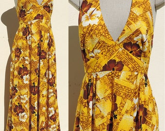 """Vintage 1960s-70s Boho Hawaiian Halter Maxi Cotton Dress Gold & Brown Hibiscus Floral Pattern """"Fashioned by HUKILAU Fashions"""" US 6 Small"""