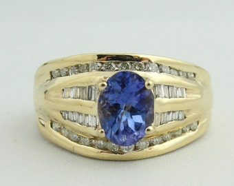 Vintage Diamond And Amethyst Ring- 14k Yellow Gold