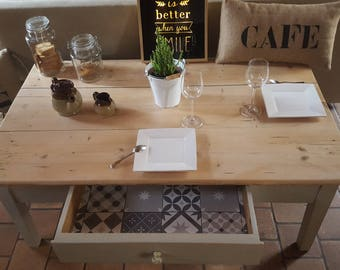Low aged weathered wood style vintage and upcycled table'