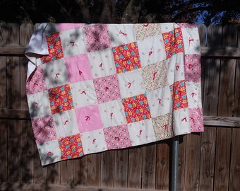 60s Vintage White, Red, and Pink Quilt | 1960 Twin Blanket | Farmhouse Accessories | Traditional Throw | Hand tied Living Room Decor