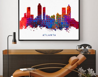 Atlanta Skyline Print, Atlanta Painting, Atlanta Art, Atlanta Wall Decor, Watercolor Atlanta, Georgia Art, Atlanta Theme (N169)