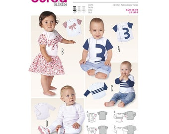 Sewing Pattern for Baby & Toddlers Shirts, Burda Kids Pattern 9408, Baby/Toddler Tops, Easy Sew Pattern
