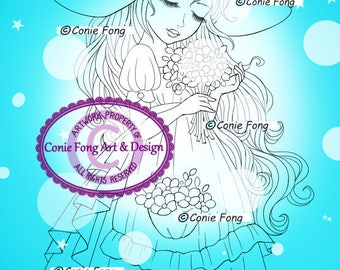 Digital Stamp, Digi Stamp, digistamp, Summer Dreams by Conie Fong, Coloring Page, girl, flower, birthday, Mother's Day, hat