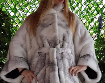 Real new mink fur coat jacket black white mexa nerzmantel fox sable chinchilla