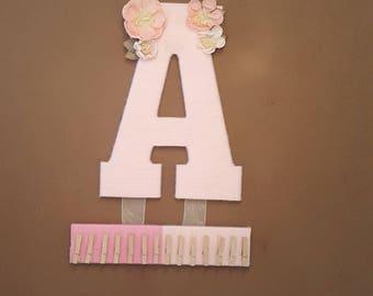 Headband Holder, Hair Bow Holder, Yarn Wrapped Letter A, Pink Nursery Letter, Baby Headband Organizer, Girls Bow Organizer, Hair Clip Holder