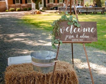 Welcome Wedding Sign, Wedding Welcome Wood Cursive Sign, Wood Welcome Wedding Sign, Wedding Signs, Wood Wedding Sign, Custom Wedding Signage