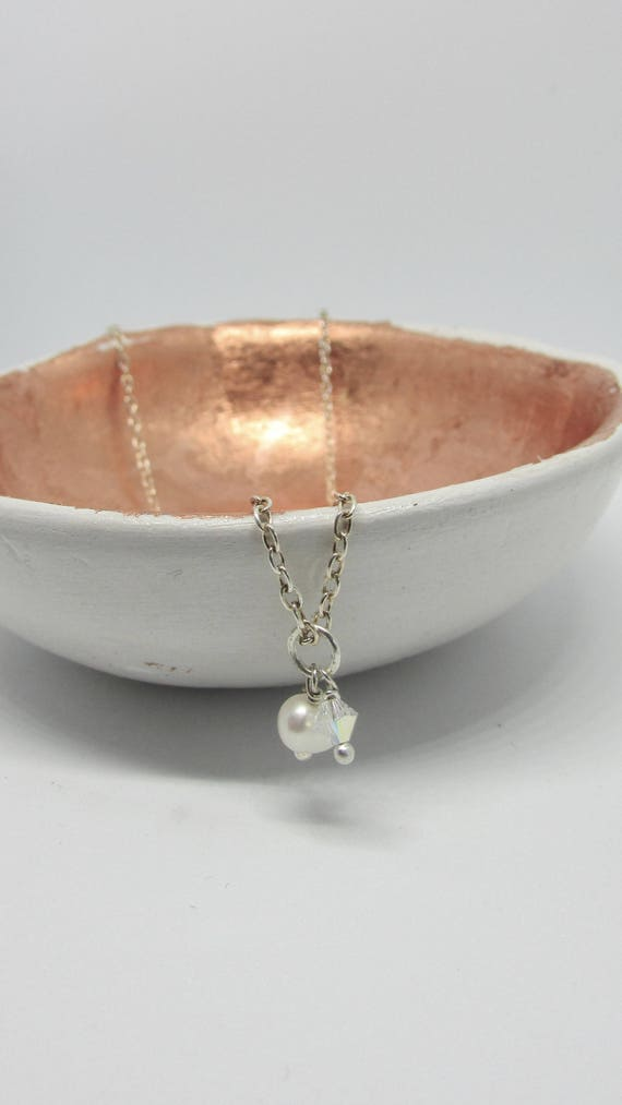 Sterling Silver Pearl and Crystal Necklace