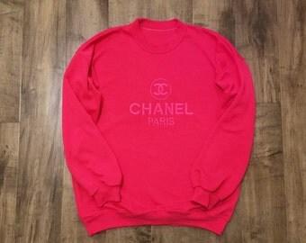 Chanel Paris Inspired Crewneck Sweatshirt Womens L/XL Vintage Bootleg Designer Look Sweater