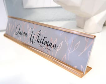 "Custom Leaves Name Plate ""Quinn"" - Personalized Desk Name Plate Sign Decor - Office Accessories - Rose Gold Nameplate"