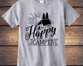 Happy Camper Shirt - Camp Fire - Wilderness Shirt- Trendy Kids- Outdoors Shirt- Happy Little Camper - Camping Shirt - Hipster shirt